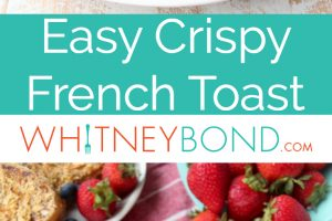 Crispy french toast on plate with fresh strawberries and blueberries with gold fork