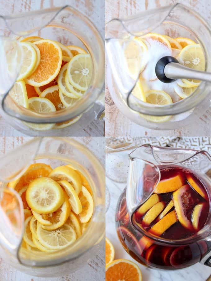 Collage of images showing how to make red wine sangria