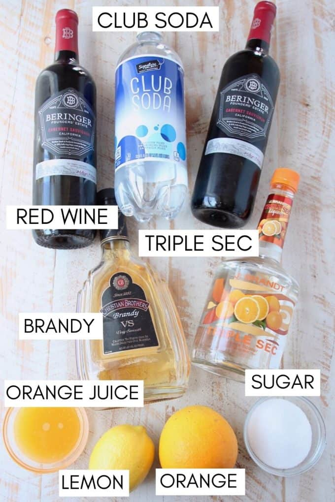 Ingredients for red sangria