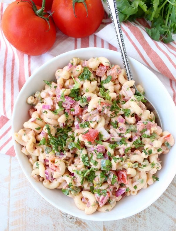 Spicy Macaroni Salad with diced tomatoes, onions and cilantro