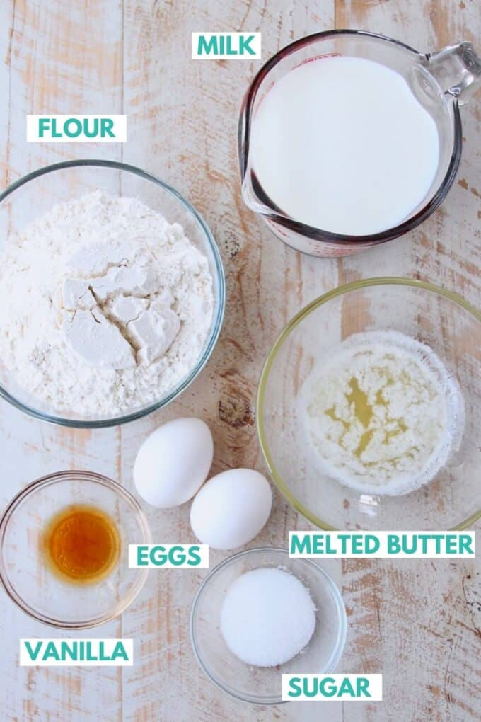 Ingredients for homemade crepes