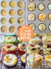 collage of images showing how to make egg muffins with paper liners