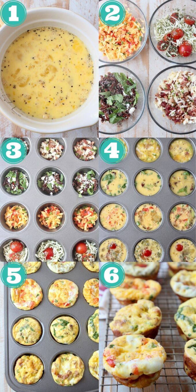collage of images showing how to make egg muffins