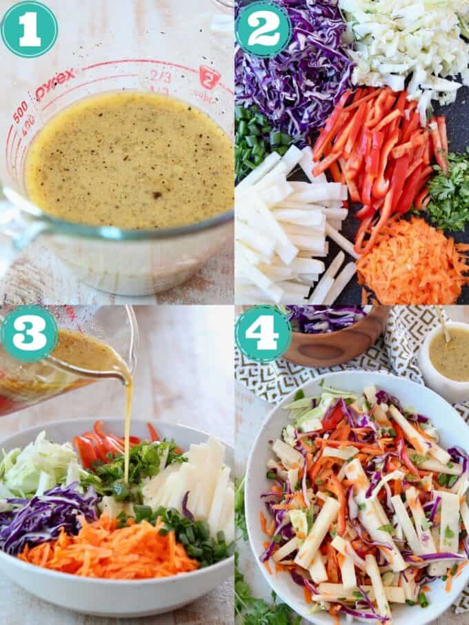 collage of images showing how to make jicama slaw