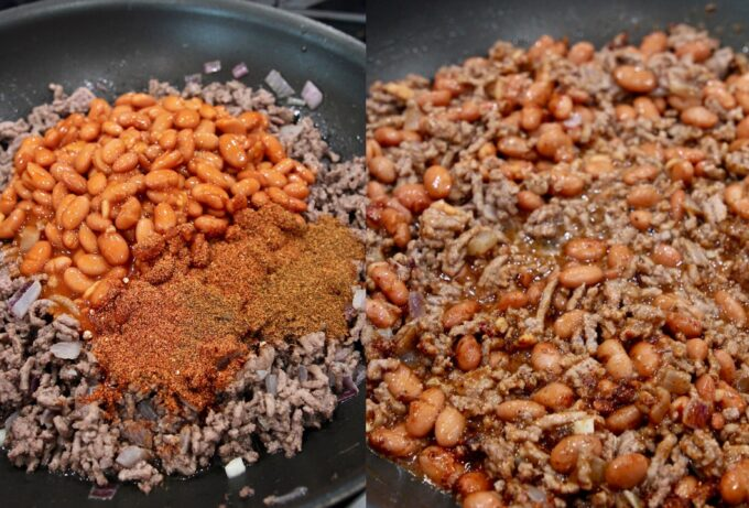 collage of images showing how to make chili on the stove