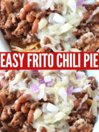 frito chili pie topped with cheese and diced red onion