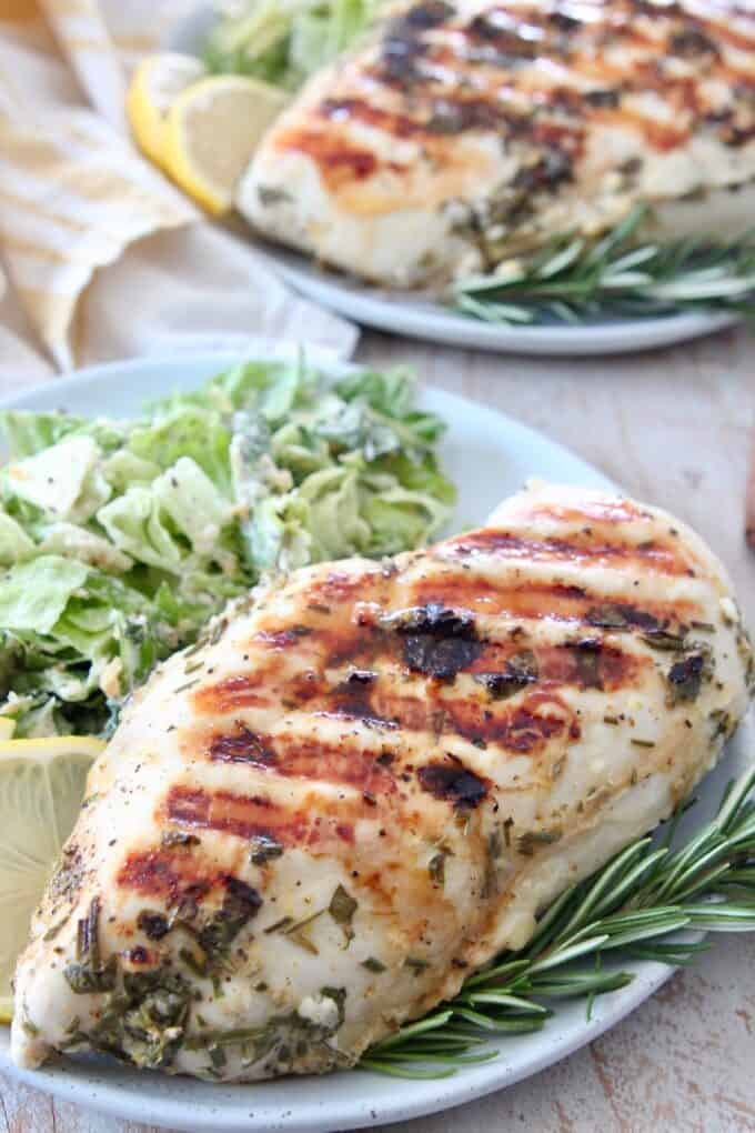 Grilled chicken breast on plate with salad