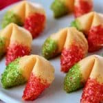 Red and green glitter fortune cookies