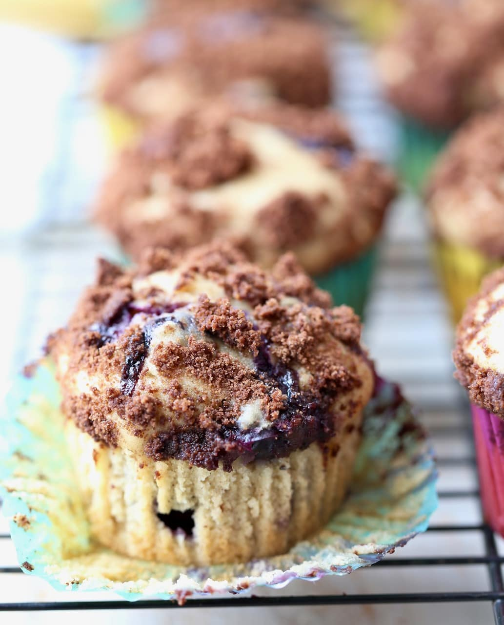 Blueberry Cream Cheese Muffins with Chocolate Crumble with Wrapper Open