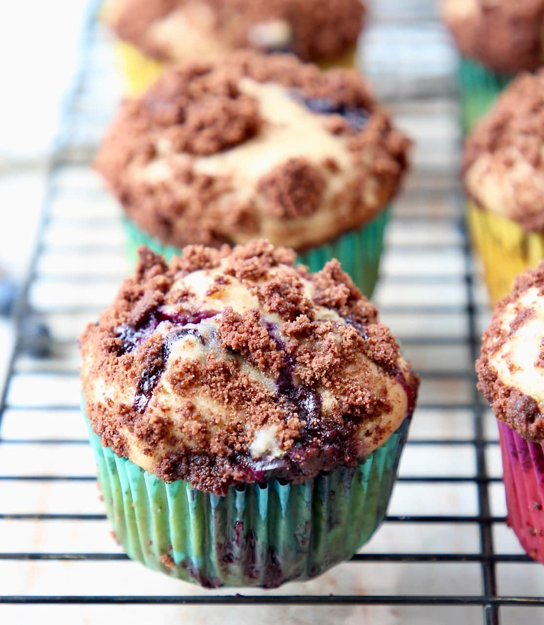 Blueberry Cream Cheese Muffins with Chocolate Crumble