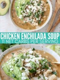 chicken soup in bowl topped with sliced avocado and queso fresco