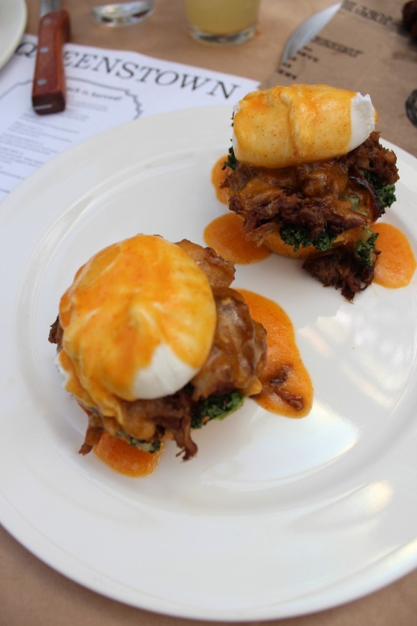 Queenstown Brunch Oink with Jalapeño Cornbread, Pulled Pork and Poached Egg