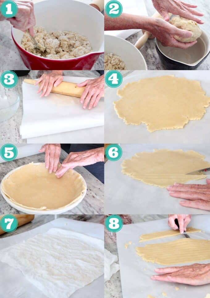 collage of images showing how to make classic pie crust