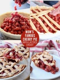 collage of images showing how to make cherry pie