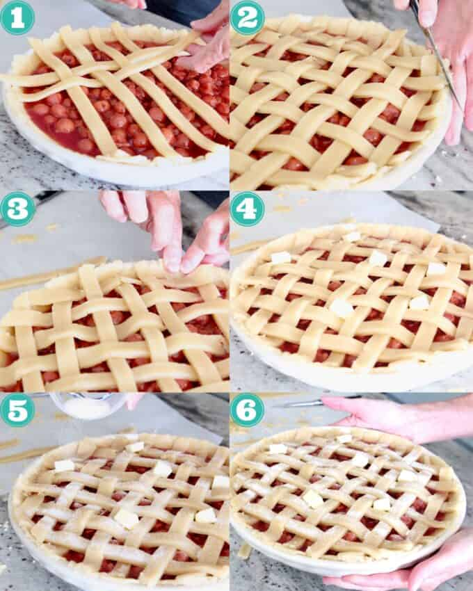 collage of images showing how to make lattice crust on a cherry pie
