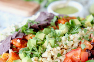 Grilled Romaine Chopped Salad with Honey Lime Dressing