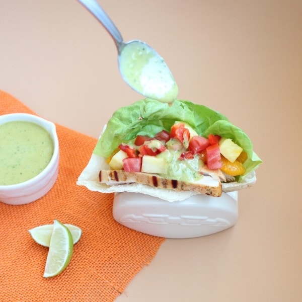 Tequila Lime Chicken Pita with Honey Lime Dressing