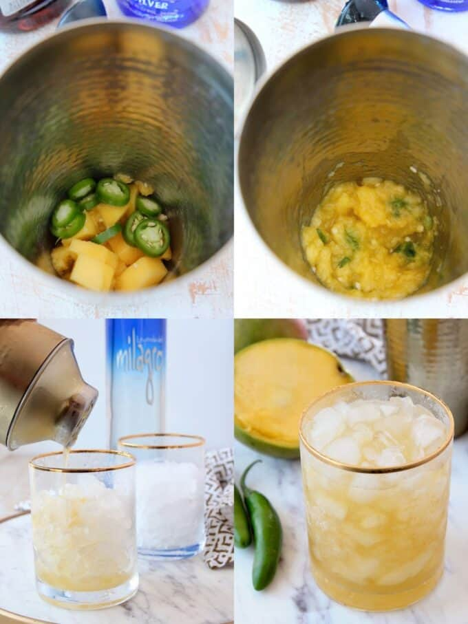 Collage of images showing how to make spicy mango margaritas