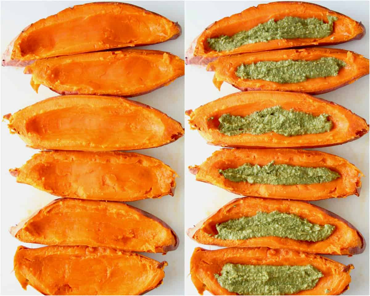 Collage of images showing how to make sweet potato skins with pesto