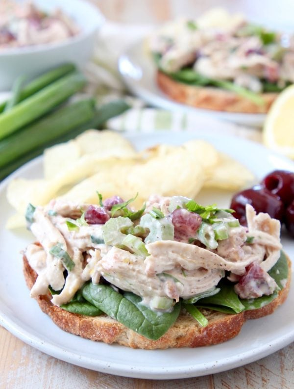 Chicken salad on toast with potato chips on white plate