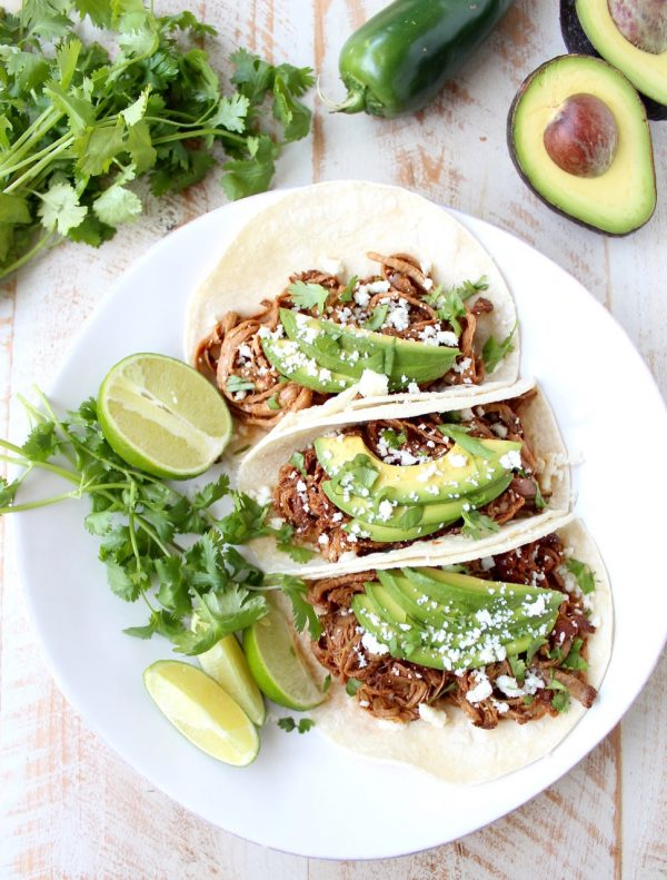 Slow Cooker Pulled Pork Tenderloin Chipotle Honey Tacos are a delicious and easy meal, perfect for weeknight dinners, game day or Taco Tuesday!