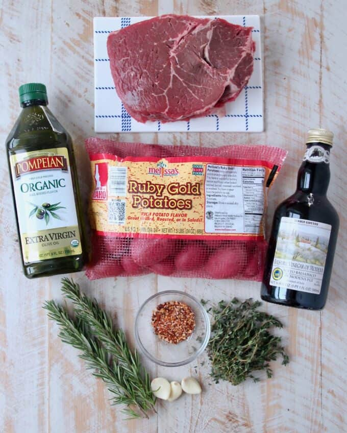 ingredients for rosemary steak and potato skewers