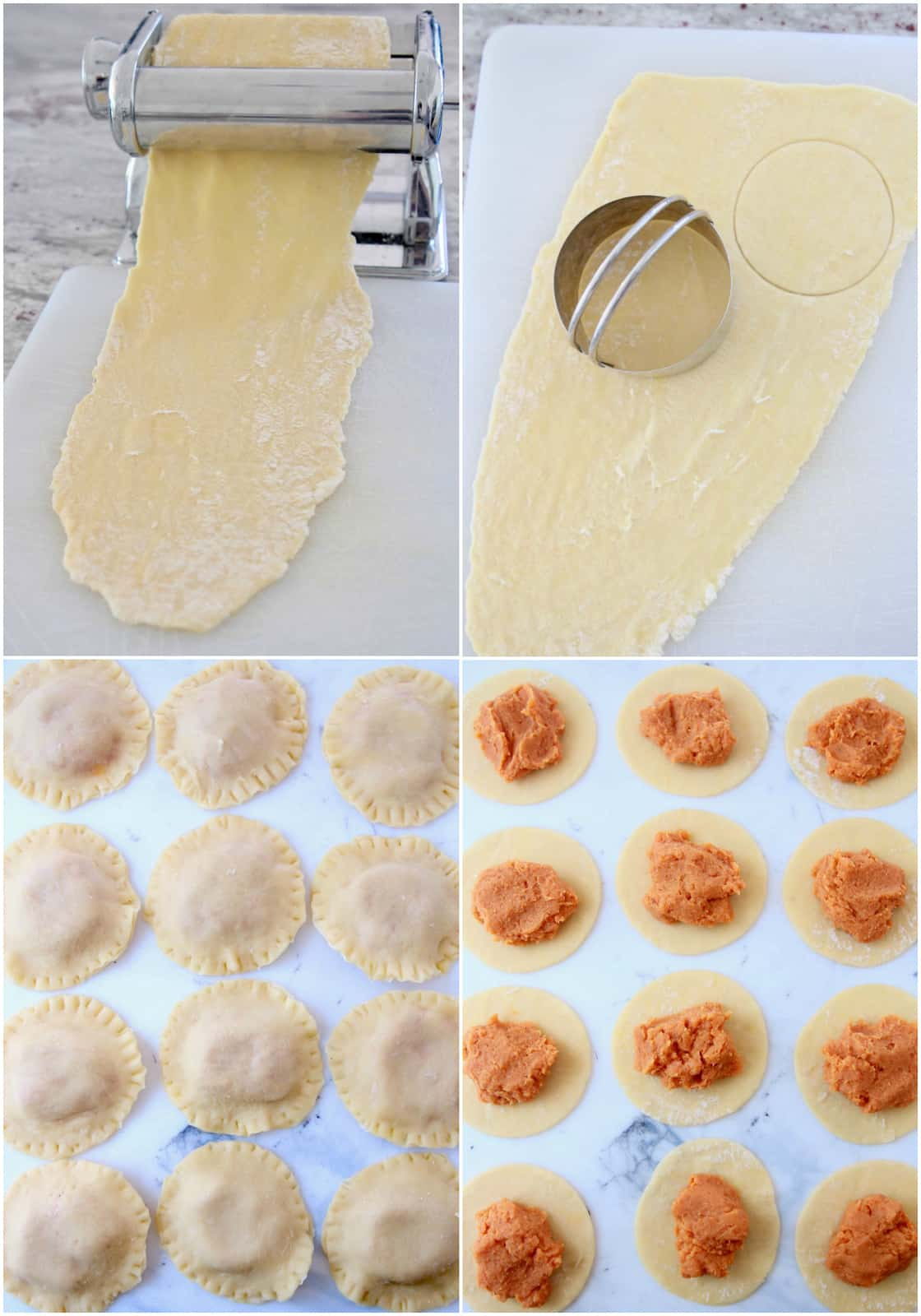 Collage of images showing how to make homemade sweet potato raviolis