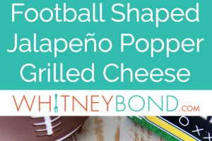 Jalapeno popper grilled cheese sandwiches cut in the shape of footballs with ranch dressing on top to make the football laces