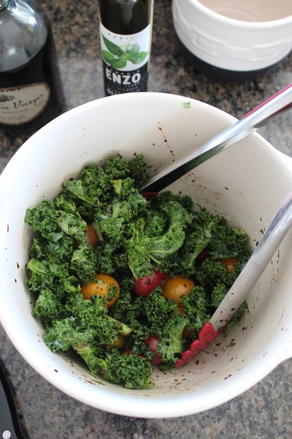 Balsamic Roasted Kale and Tomatoes