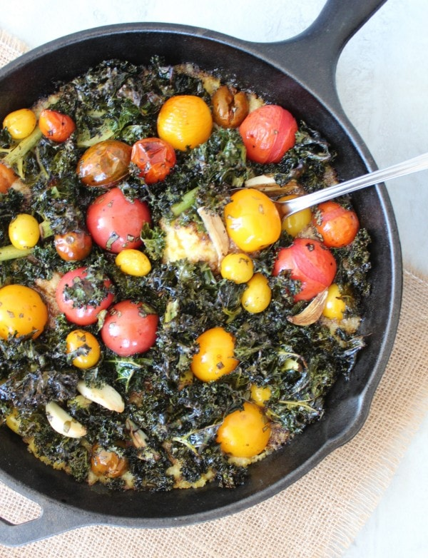 Cheesy Polenta Skillet with Roasted Kale and Tomatoes
