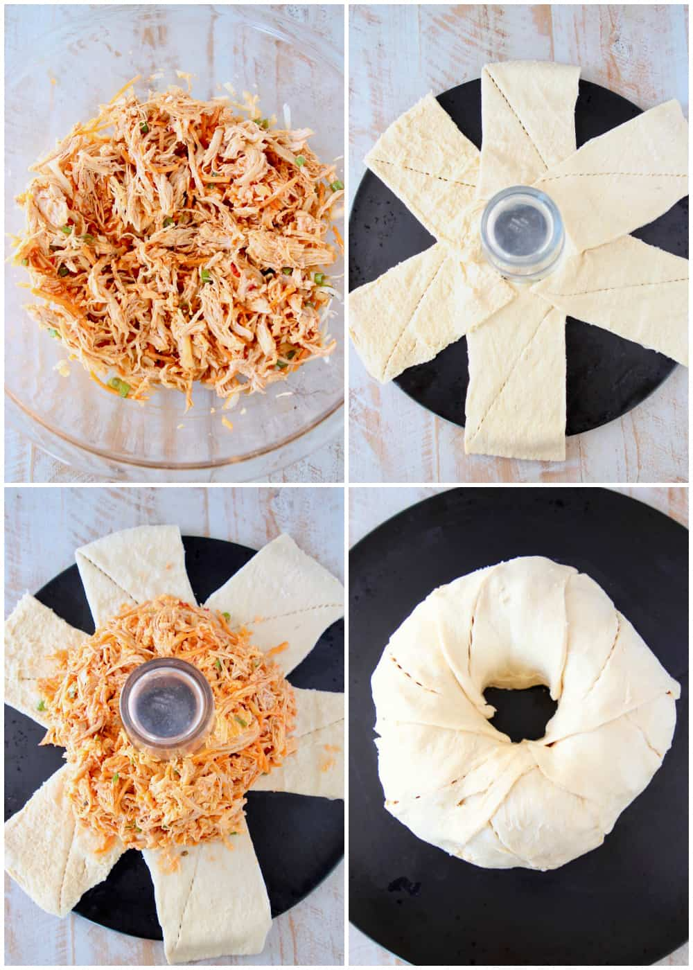 Instructional images how to make a buffalo chicken ring