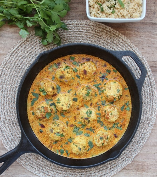 Chicken Curry Meatballs with Coconut Vindaloo Sauce