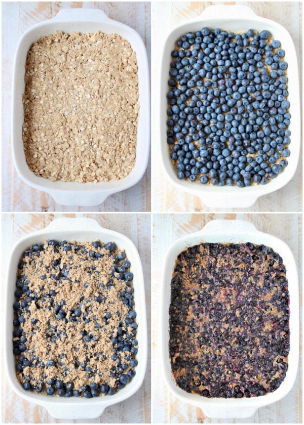 Collage of process shots of how to make homemade blueberry oatmeal bars