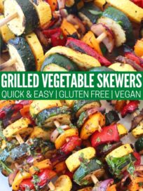 grilled vegetables on wooden skewers on white plate