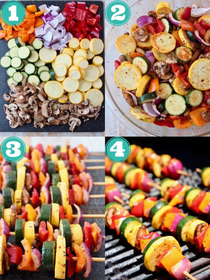 collage of images showing how to make grilled vegetable skewers