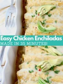Image of enchiladas in white baking dish, topped with sliced avocado, with text overlay