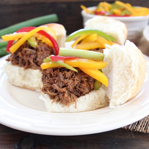 Slow Cooked Thai Beef Sliders with Bell Pepper Slaw
