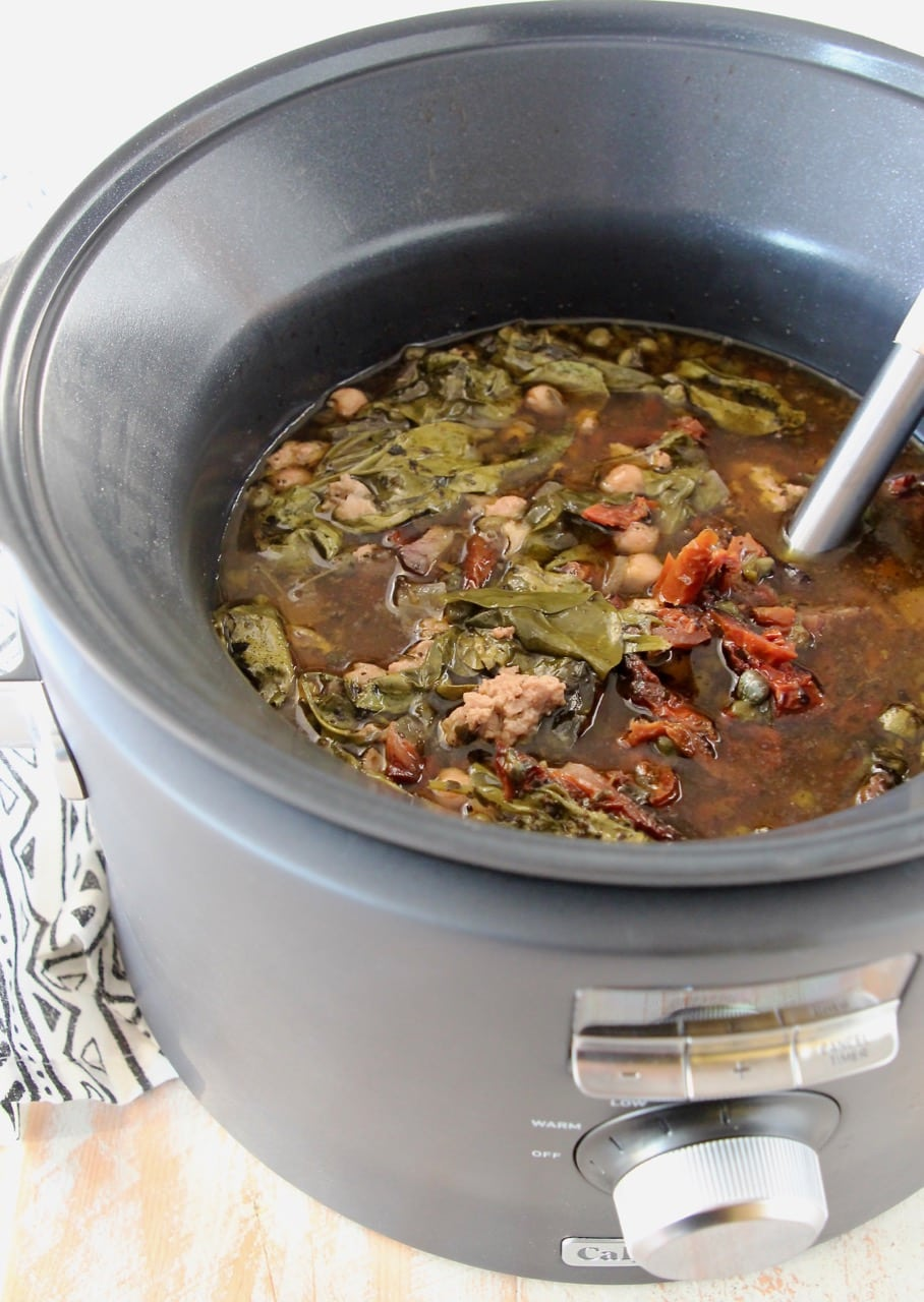 Greek turkey soup with spinach in slow cooker
