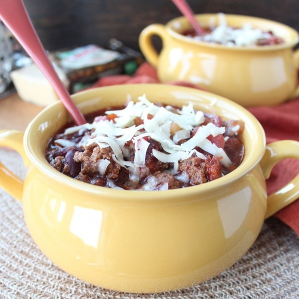 Chipotle Stout Chili in a yellow bowl