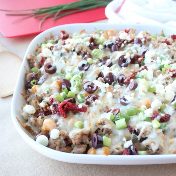 Greek Nachos with Olives and Sun Dried Tomatoes