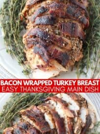 Sliced bacon wrapped turkey on plate with fresh herbs