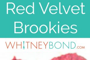 Red velvet chocolate chip cookie dough is layered on top of red velvet brownie batter in this delicious recipe for Red Velvet Brookies!