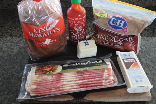 Sriracha Candied Bacon Grilled Cheese Ingredients