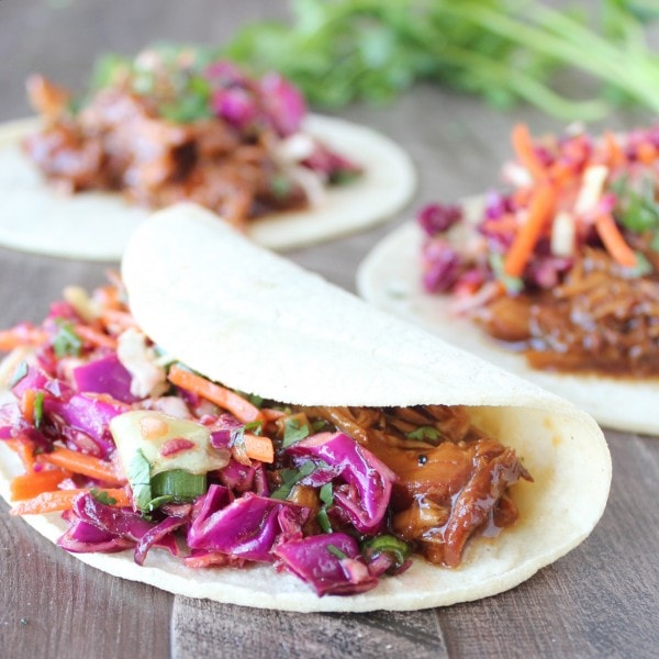 Korean BBQ Chicken Tacos with Asian Slaw