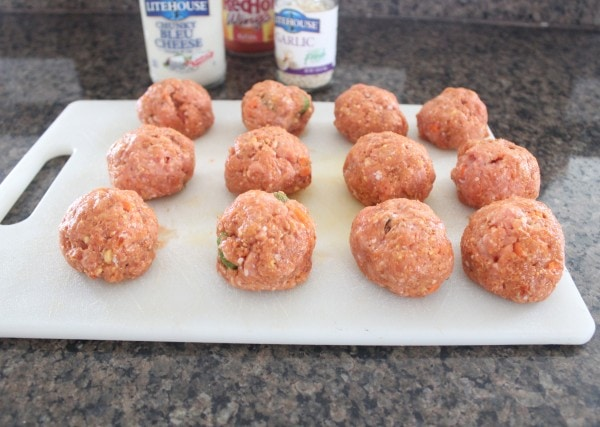 meatballs on a white cutting board
