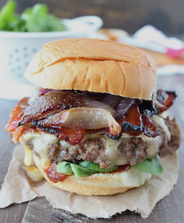 Sriracha Candied Bacon Caramelized Onion Brie Cheeseburgers