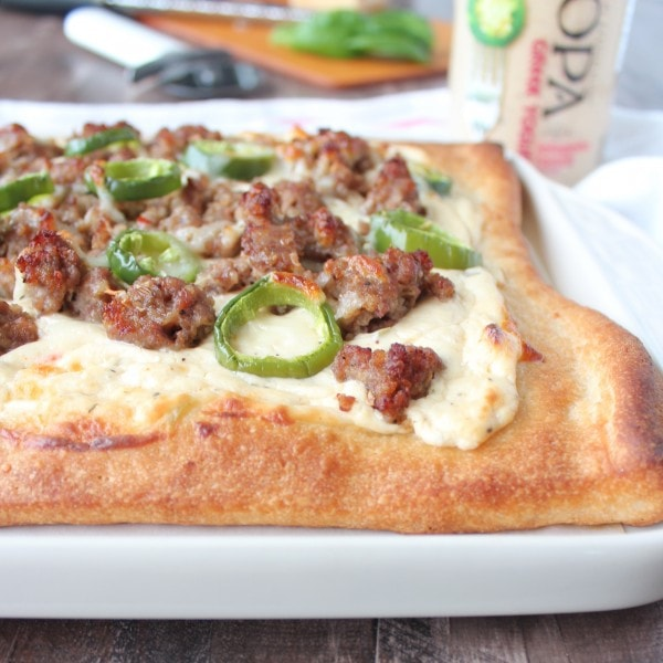 Sausage Jalapeno Pizza with 3 Cheese Jalapeno Ranch Sauce