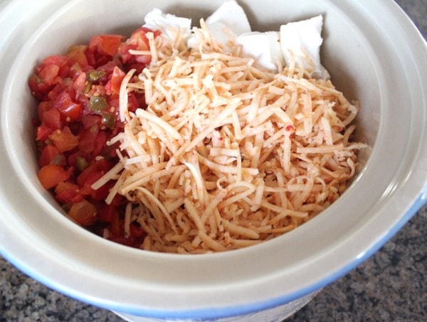 cheese and canned diced tomatoes with green chilies in slow cooker