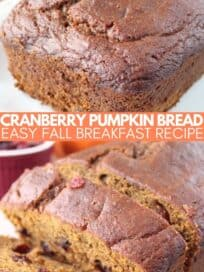 loaf of pumpkin bread and sliced pumpkin bread with cranberries