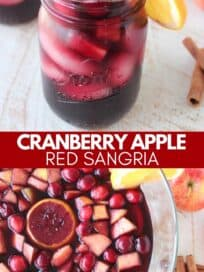 Sangria in glass and in large glass punch bowl